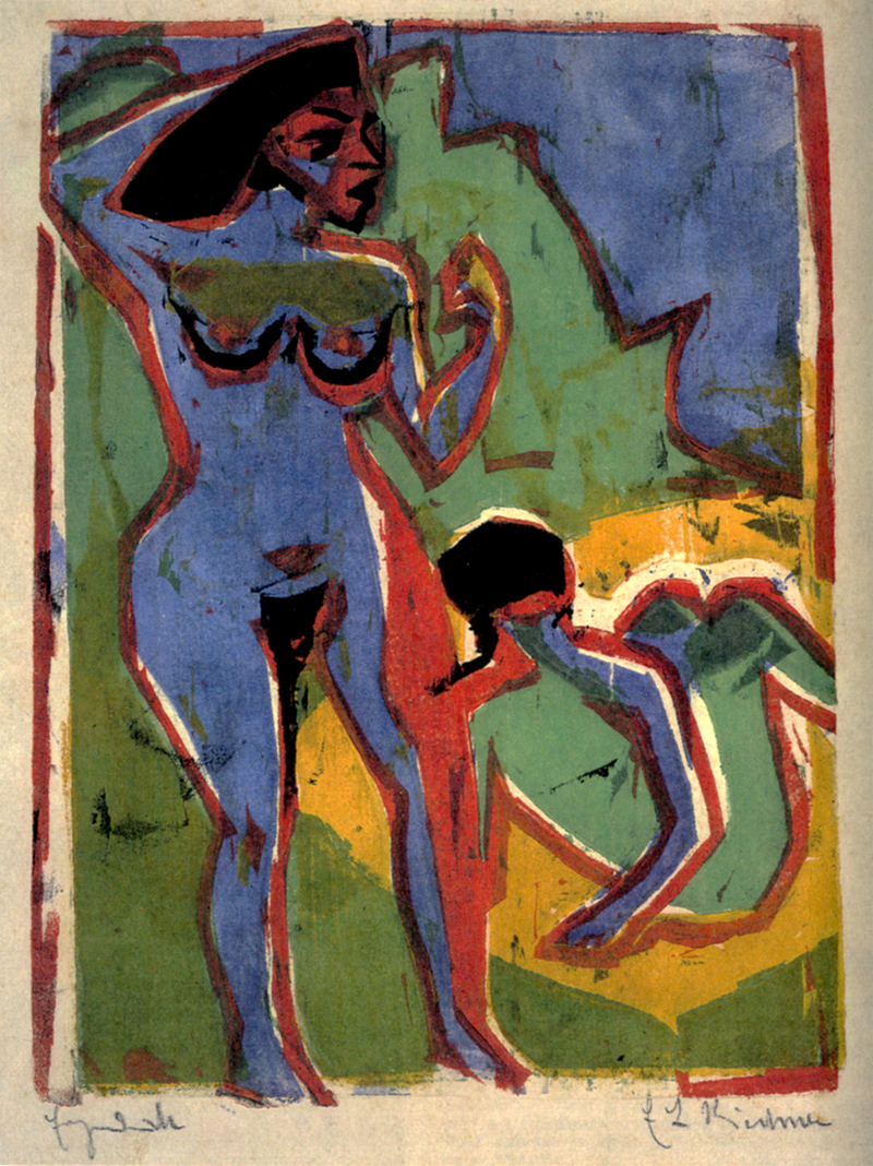 The work depicts two naked women at a sea.