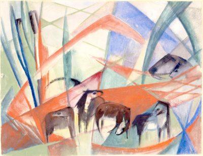 Franz Marc_Landschaft mit schwarzen Pferden_1913_Tempera_Museum Ulm
