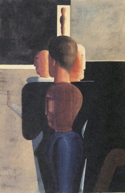 Oskar Schlemmer_Konzentrische Gruppe imm Raum_1924-25_Aquarell, Gouache_Museum Ulm