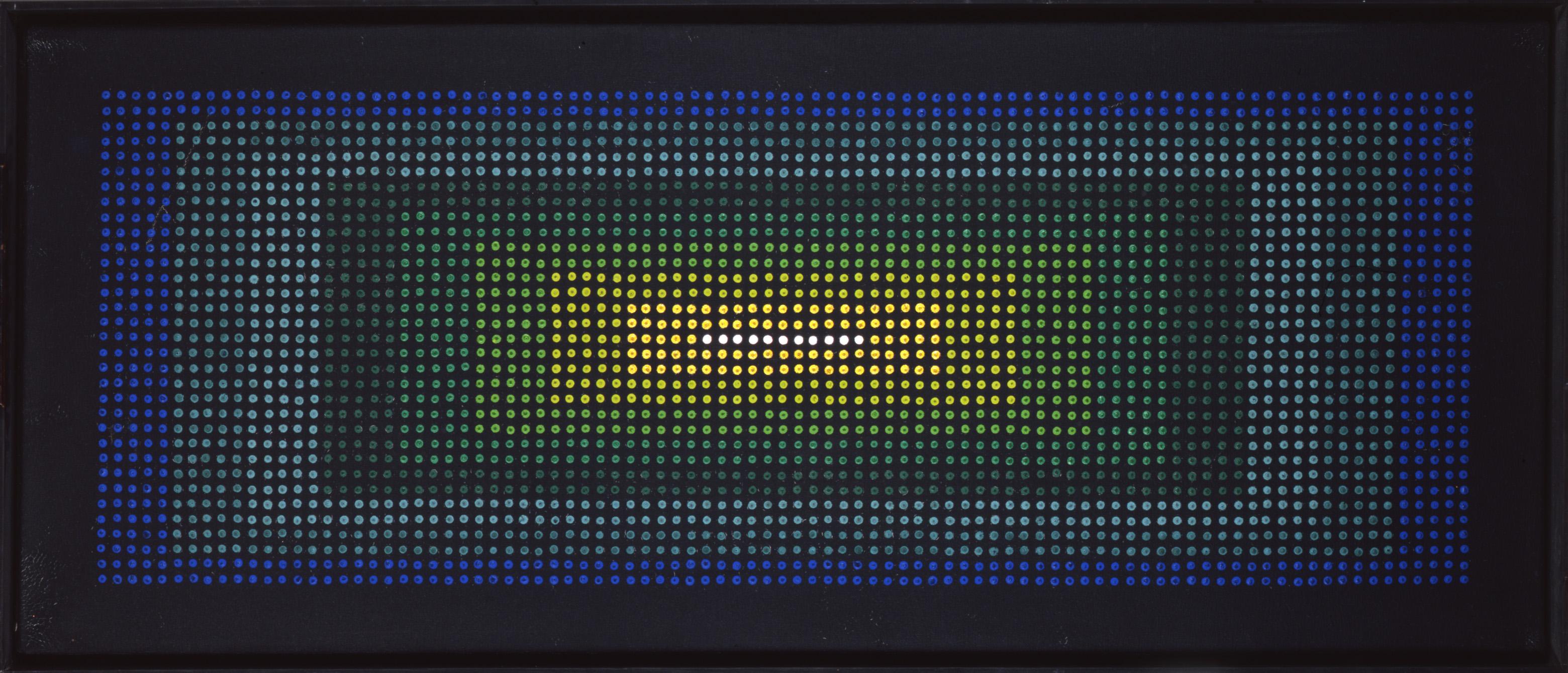 Rechteckiges Gemälde mit schwarzem Grund, auf dem rasterartig Farbpunkte aufgetragen sind.