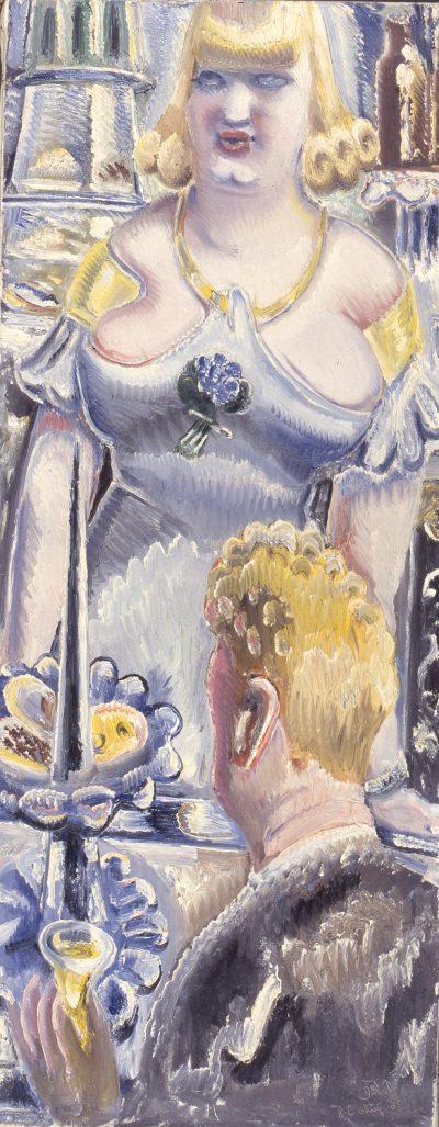 Paul Kleinschmidt, Blonde Bardame mit Herr, 1938, Öl auf Leinwand, Museum Ulm