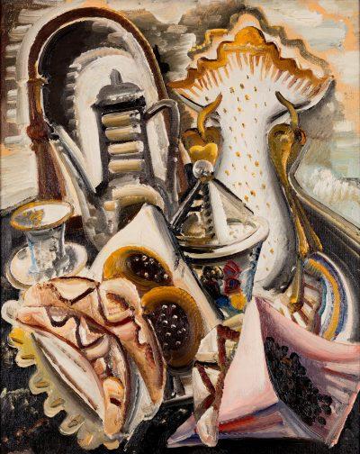 Paul Kleinschmidt, Stillleben mit Kaffeetisch, 1931, Öl auf Leinwand, Privatbesitz