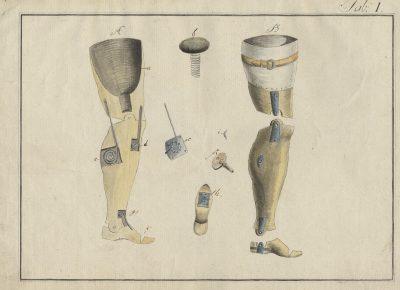 Albrecht Ludwig Berblinger, Künstliche Fußmaschine, Bleistift und Aquarell auf Papier, 1809, Stadtarchiv Ulm