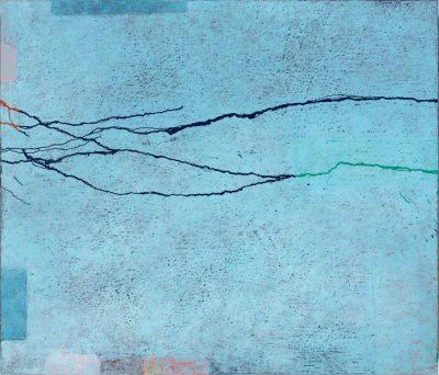 Paco Knöller, Lidrand des Sees 2, Oelkreide u. Lack auf Holz (Dreiteilig mittlerer Teil), 2016, Foto Jochen Littkemann, Courtesy Galerie Thomas Schulte Berlin