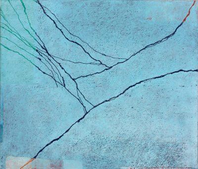 Paco Knöller, Lidrand des Sees 2, Oelkreide u. Lack auf Holz (Dreiteilig linker Teil), 2016, Foto Jochen Littkemann, Courtesy Galerie Thomas Schulte Berlin