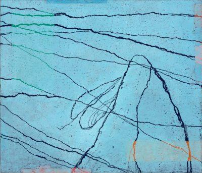 Paco Knöller, Lidrand des Sees 2, Oelkreide u. Lack auf Holz (Dreiteilig rechter Teil), Foto Jochen Littkemann, Courtesy Galerie Thomas Schulte Berlin