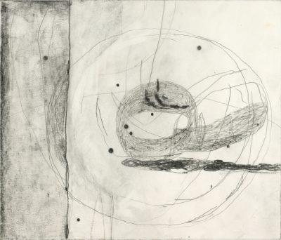 Paco Knöller, wenn Zellkerne zu wandernden Planeten werden, Bleistift auf Papier, 2000, Foto Jochen Littkemann, Courtesy Galerie Thomas Schulte Berlin
