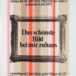 Aussellungsplakat Das schönst Bild bei mir zuhaus, studio f, 1971, Museum Ulm